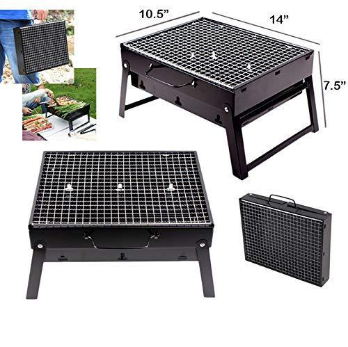 Folding Barbeque Charcoal Grill Oven Black, Carbon Steel