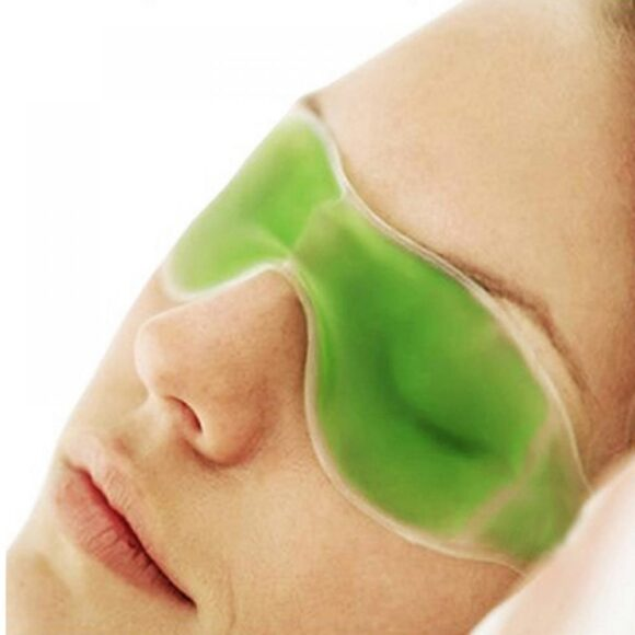 Cold Eye Mask with Stick on Straps Green