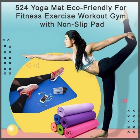 Yoga Mat Eco Friendly For Fitness Exercise Workout Gym with Non Slip Pad 180x60xcm Color may very