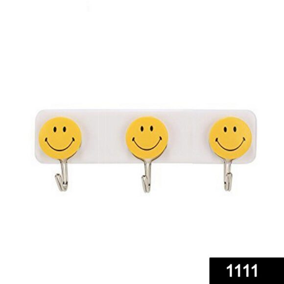 Self Adhesive Smiley Face Wall Hooks (Pack of 3)