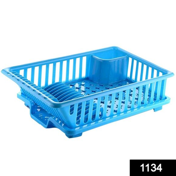 1134 3 in 1 Large Durable Kitchen Sink Dish Rack_Drainer Washing Basket with Tray 1