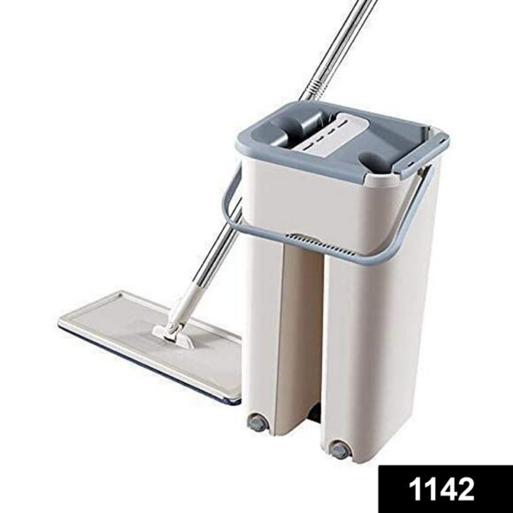 1142 Scratch Cleaning Mop with 2 in 1 Self Clean Wash Dry Hands Free Flat Mop 1