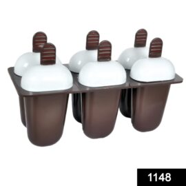 1148 Plastic Ice Candy Maker Kulfi Maker Moulds Set with 6 Cups Multicolour 1