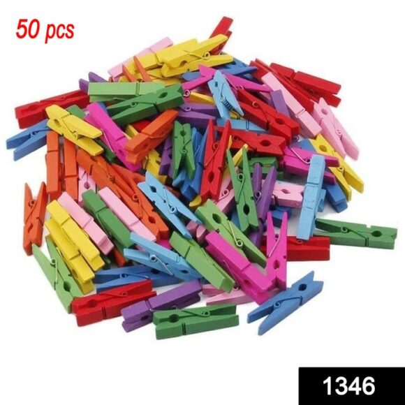 Wooden Clips for Photo Hanging & Home Decoration Pin Clips (Pack of 50)
