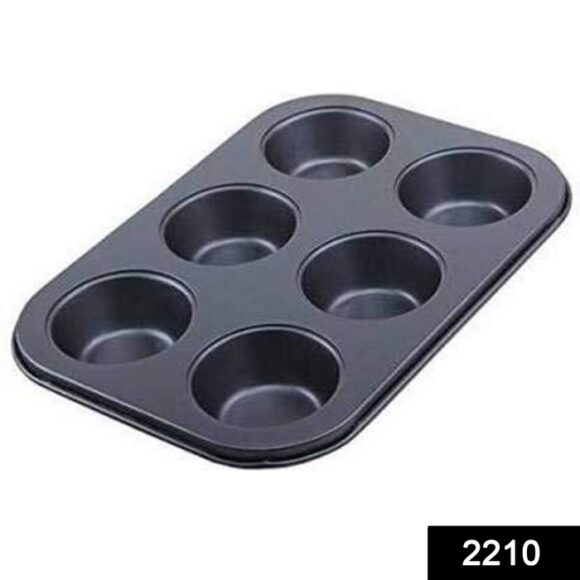 Non-Stick Reusable Cupcake Baking Slot Tray for 6 Muffin Cup