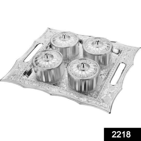 Dry Fruit Air Tight Bowls Tray with Lids 4 Section Snacks Mukhvas Dani