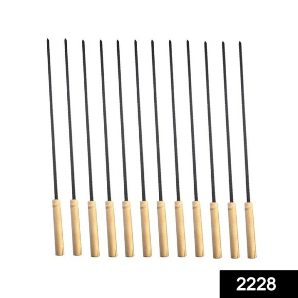 Barbecue Skewers for BBQ Tandoor and Gril with Wooden Handle – Pack of 12