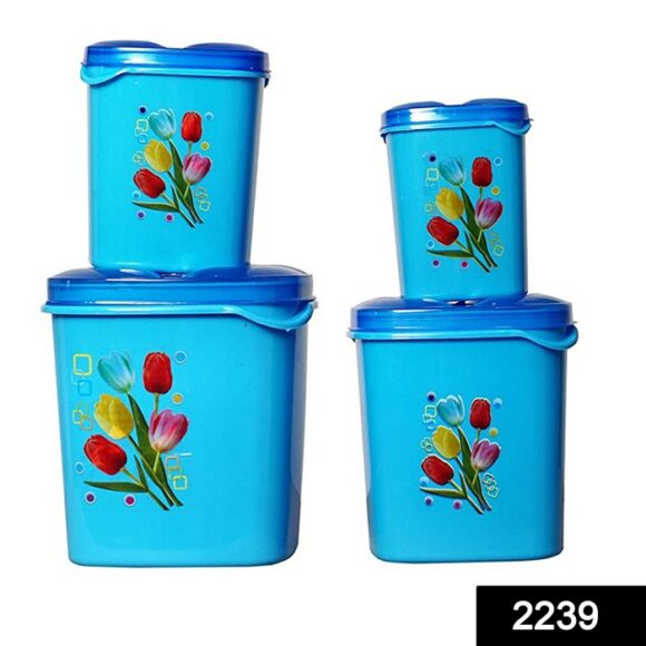 2239 Container Set For Kitchen Storage Airtight & Food Grade Plastic Pack of 4 3000ml,2000ml,1500ml,500ml 1